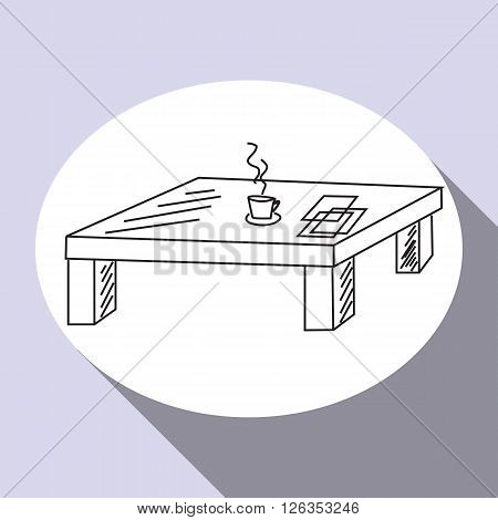 Living room hand drawn flat line icon design with furniture - coffee table. Vector Illustration.