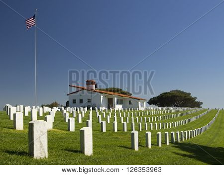 FORT ROSECRANS NATIONAL CEMETRY SAN DIEGO - APRIL 17 2016: White graves in Rosecrans National Cemetery San Diego California USA