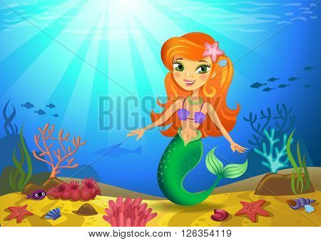 Vector illustration of a mermaid on a seabed with corals and small fishes