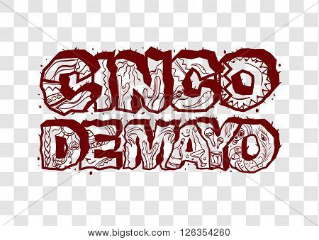 Cinco de Mayo. Lettering text header for greeting card. Isolated vector illustration