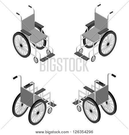 Wheelchair detailed isometric icon vector graphic illustration.