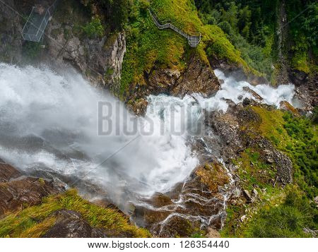 Stuiben waterfall, or Stuibenfall, is the highest waterfall in Tyrol, Austria. View from above.