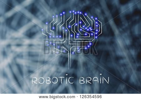 Microchip Circuits With Led Lights In Shape Of A Robotic Brain