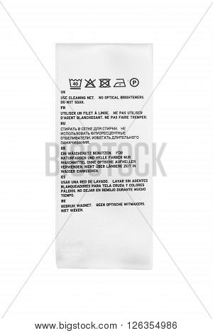 Washing instructions label isolated over white background