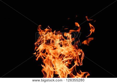 Raging Flames Red Fire Black Background