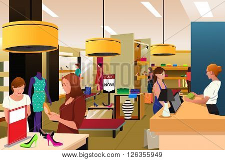 A vector illustration of women shopping in a clothing store