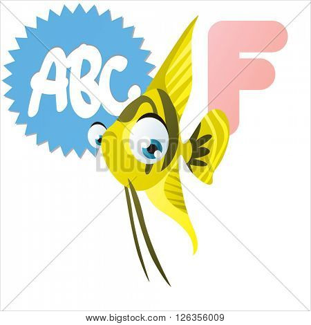 Cute cartoon vector illustration of happy funny big eye fish. Kids animal abc: F if for Fish.