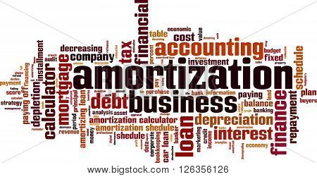 Amortization word cloud concept. Vector illustration on white