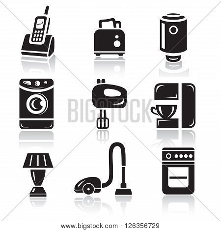 Household appliances icon set in minimalist style. Black sign on white background
