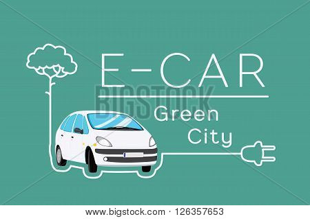 Electric car eco concept. Vector banner with car and tree