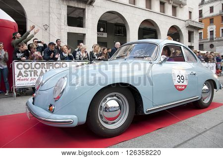 BRESCIA, ITALY - APRILE 17, 2016:500 Miglia. Finish. PORSCHE 356B 1600 SUPER, 1963 built