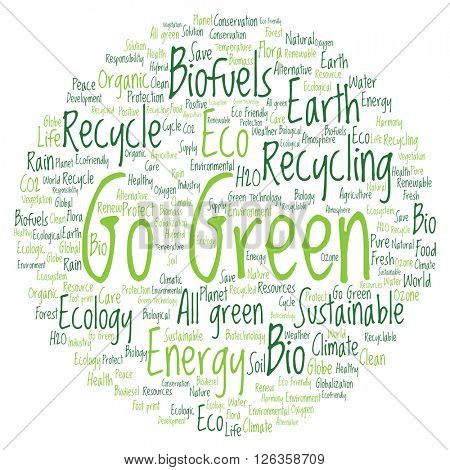 Concept or conceptual abstract green ecology or energy and conservation word cloud text isolated on white background
