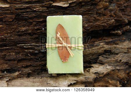 Handmade soap. Soap closeup.Spa products.