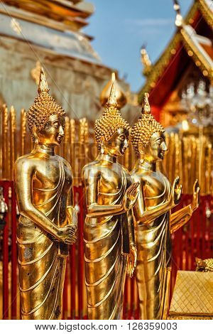 Gold Buddha statues in Wat Phra That Doi Suthep, Chiang Mai, Thailand