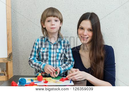 Child Kid Boy And Mother Play Colorful Clay