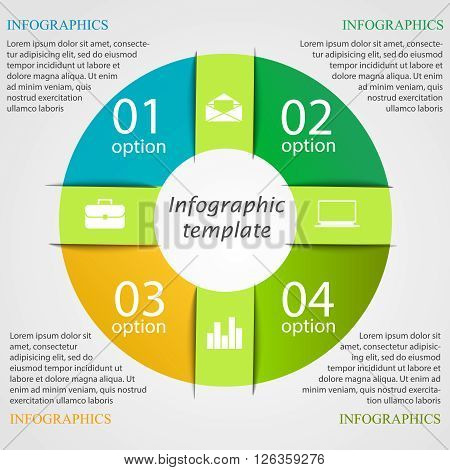 pie chart infographic template. Business concept with 4 options, parts, steps or processes. Can be used for workflow layout, diagram, number options, step up options, web design