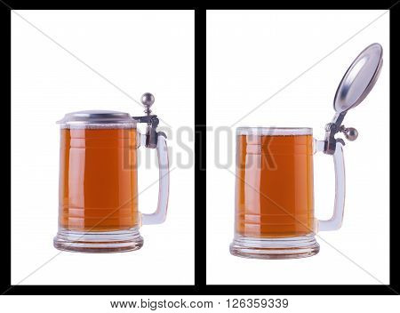 Two shots of beer mug with cap on and off full of light beer over white