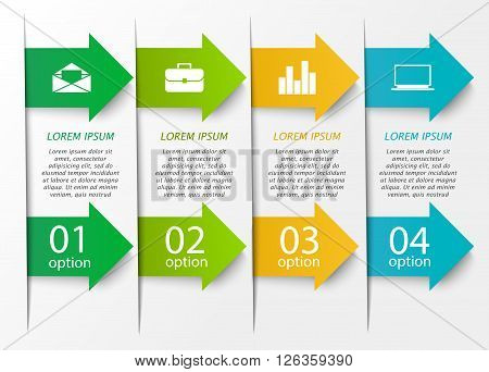 Abstract arrow infographics template.  Business concept with 4 options, parts, steps or processes. Can be used for workflow layout, diagram, number options, step up options, web design