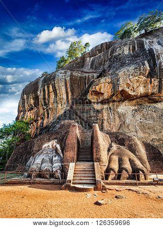 Famous Sri Lankan tourist landmark - lion's paws pathway on Sigiriya rock, Sri Lanka