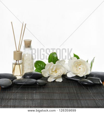 Set of with stones and gardenia ,stones,oil on bamboo mat
