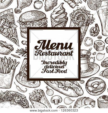vector vintage sketches fast food illustration. design template menu covers for restaurant or cafe