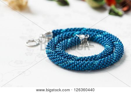 Handmade Beaded Necklace Blue Color Close Up