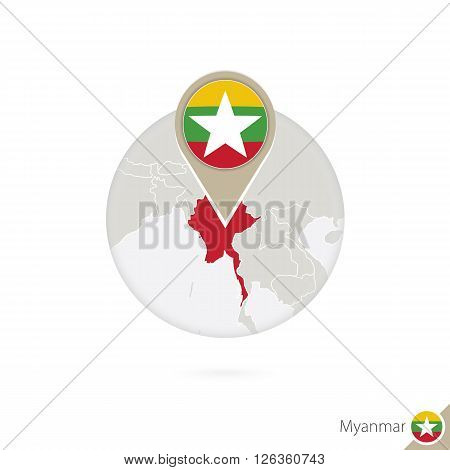 Myanmar Map And Flag In Circle. Map Of Myanmar, Myanmar Flag Pin. Map Of Myanmar In The Style Of The