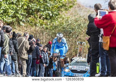 Conflans-Sainte-Honorine, France-March 6, 2016: The Lithuanian cyclist Evaldas Siskevicius of Delko-Marseille Provence-KTM Team riding during the prologue stage of Paris-Nice 2016.