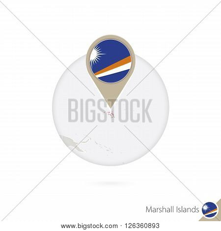 Marshall Islands Map And Flag In Circle. Map Of Marshall Islands, Marshall Islands Flag Pin. Map Of