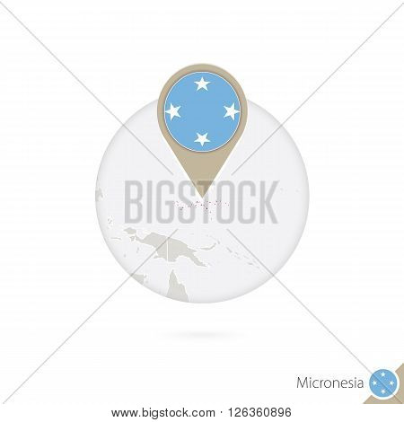 Micronesia Map And Flag In Circle. Map Of Micronesia, Micronesia Flag Pin. Map Of Micronesia In The