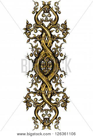 Illustration bizarre rough tree trunks and branches. Decorative symbol in a golden colour