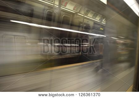 New York City, USA - January 03, 2016: Running subway train in the New York City.