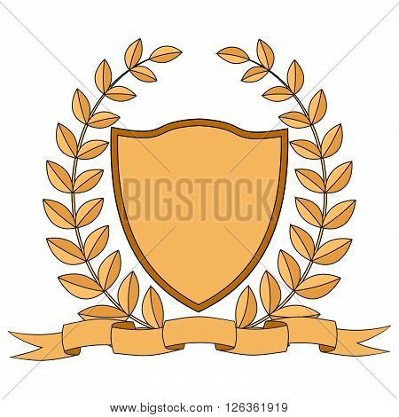 Heraldry. Shield, ribbon, laurel wreath. Vector Image.