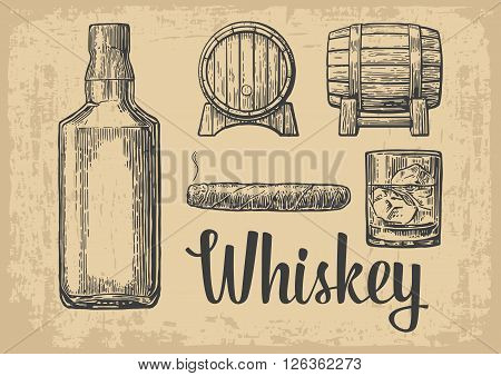 Whiskey glass with ice cubes, barrel, bottle, cigar. Vintage vector engraving illustration for label, poster, invitation to a party. Vintage brown old paper background