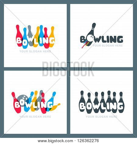 Set Of Vector Hand Drawn Bowling Logo, Icons And Emblems.