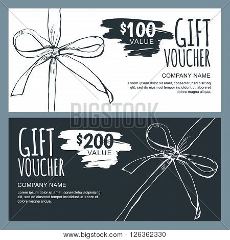 Vector gift voucher template with hand drawn outline bow ribbons. Black and white doodle holiday cards. Design concept for gift coupon invitation certificate flyer banner.