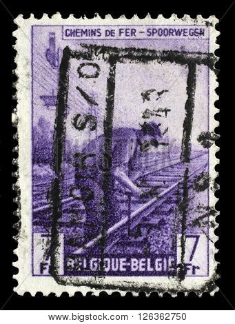 ZAGREB, CROATIA - JULY 03: A stamp printed in Belgium shows Railway Worker from The Railway Company at Work issue, circa 1945., on July 03, 2014, Zagreb, Croatia