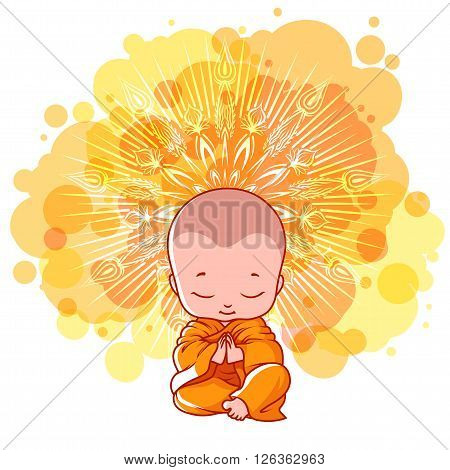 Little meditating monk. Sunny day. Vector cartoon illustration on a yellow spotted background.