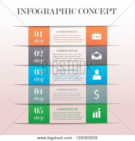Infographic banner concept with 5 steps. Modern business step options banner. Can be used for workflow layout, diagram, number options, step up options, web template, infographics.