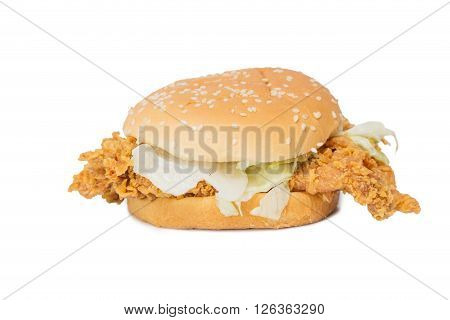 Crisp chicken burger with lettuce isolated on white background