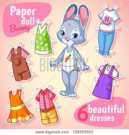 Very cute paper doll with six beautiful dresses. Bunny on a pink background. Vector cartoon illustration.