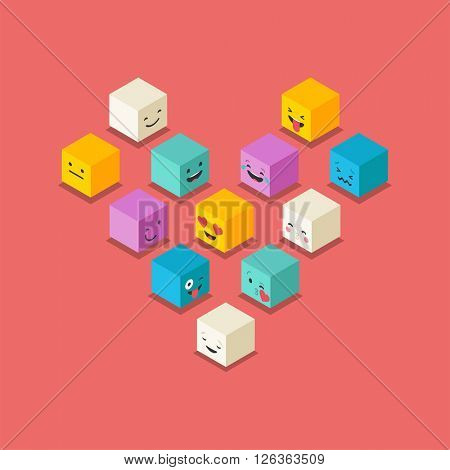 Isometric love, heart symbol emoticons cubes, square colorful icons