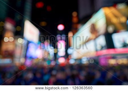 Defocused photo of Times Square in New York City at night