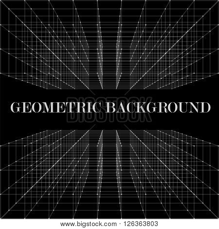 3D Abstract geometric vector background with aberration effect