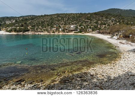 Amazing Panorama to village and beach of Aliki,Thassos island,  East Macedonia and Thrace, Greece