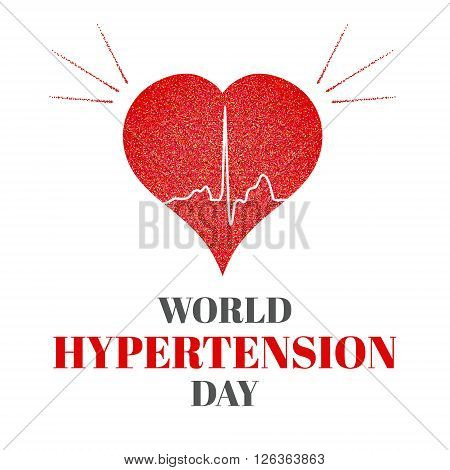 World Hypertension Day. Vector illustration of heart and cardiogram. Hypertension awareness sign. Pulse symbol. Heartbeat label. Hypertension solidarity day symbol. Medical concept.