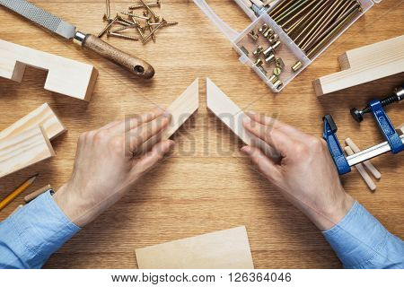 Woodworking workshop table top scene. Making of wooden frame. DIY concept.