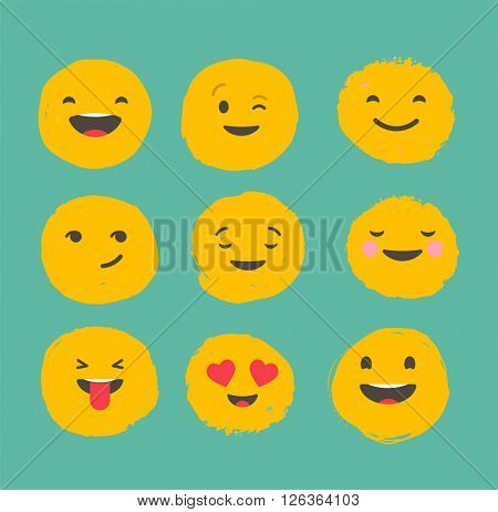 Hand drawn emoticons, colorful emoji icons with communication speech bubbles