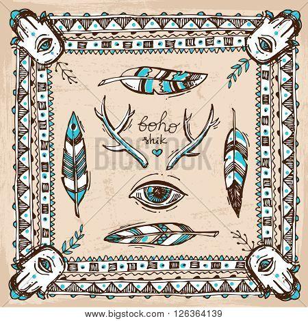 Set of Boho Style  hand drawn elements. Boho vector illustration. Tribal elements for polygraphy of boho wedding.