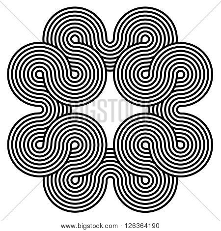 Black and white spiral background. Spiral line shape design consisting of twirles